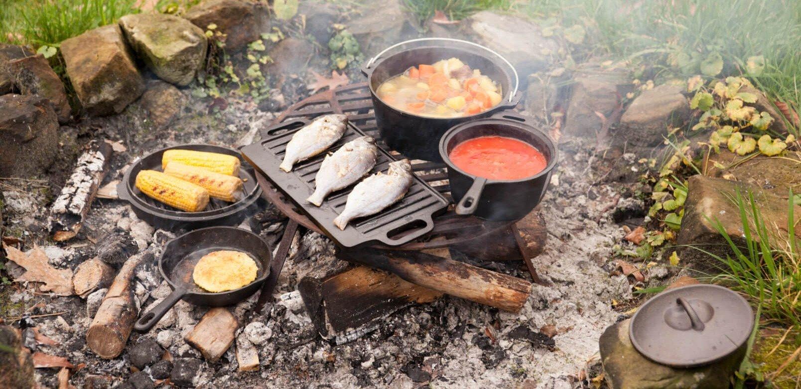 Buitenkoken met de Esschert kampvuur kookset